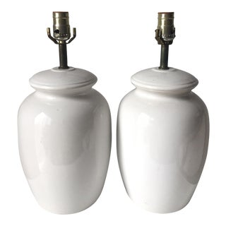 Vintage Mid Century White Ginger Jar Lamps - a Pair