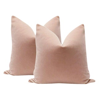 "22"" Mohair Velvet Pillows in Blush - A Pair"