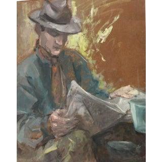 French Portrait Oil of Gentlemen & Newspaper