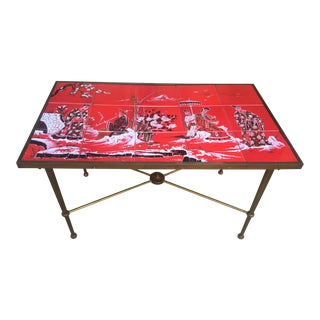 Vintage Hollywood Regency Red Tile Table