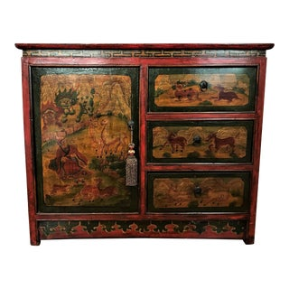 Vintage Tibetan Traditional Hand Painted Cabinet