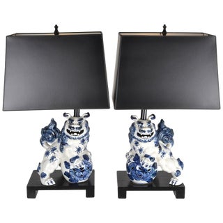 Vintage Foo Dog Lamps - A Pair