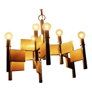 Gaetano Sciolari Brass & Chrome Chandelier