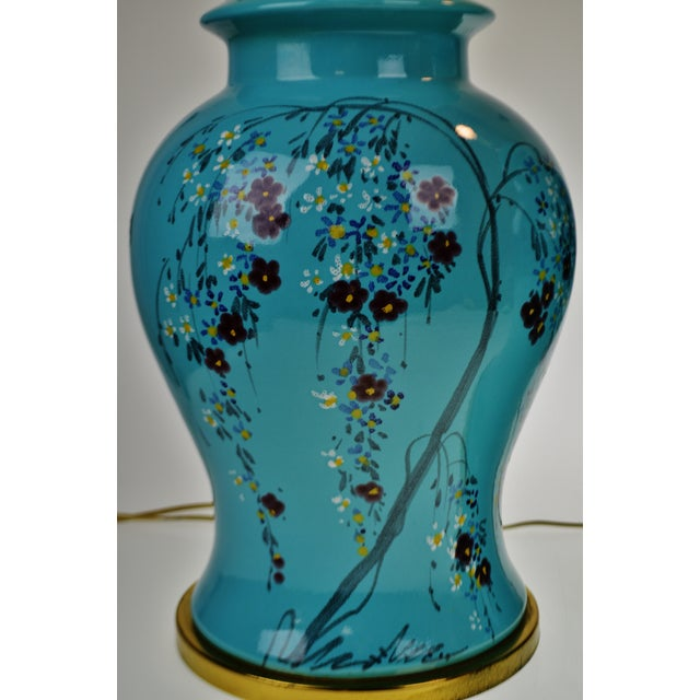 Vintage Large Scale Aquamarine Blue Hand Painted Asian Ginger Jar Lamps - A Pair - Image 2 of 11