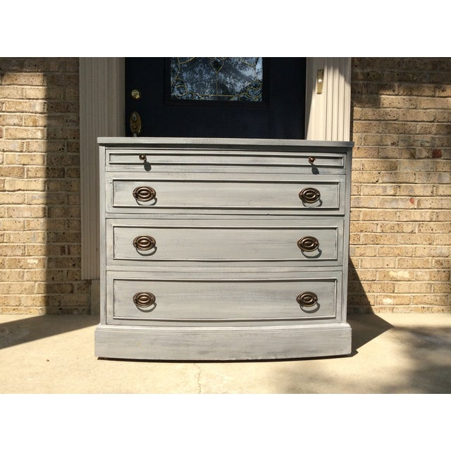Distressed Grey Bowfront Federal Style Chest - Image 2 of 9