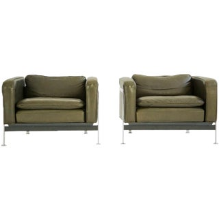 Pair of Robert Haussmann Leather Lounges