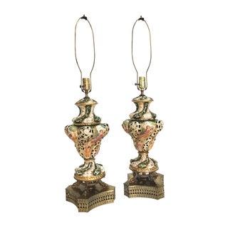 Antique Capodimonte Italian Porcelain Lamps - A Pair