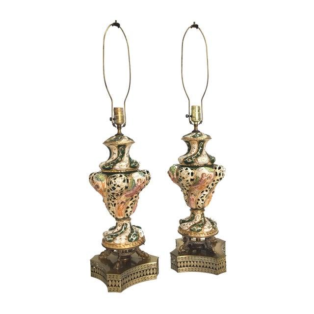 Image of Antique Capodimonte Italian Porcelain Lamps - A Pair