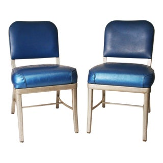 Cole Steel Vintage Industrial Blue Office Chairs - A Pair