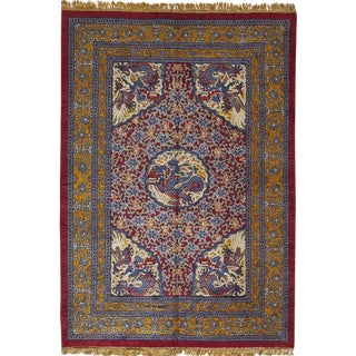 "Silk and Metallic Thread Chinese Carpet - 8'9"" x 6'2"""