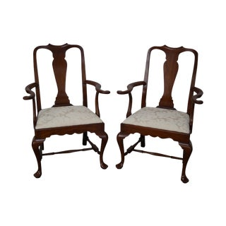 Henkel Harris Solid Cherry SPNEA Queen Anne Armchairs - A Pair