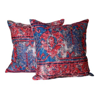 Red Distressed Turkish Rug Print Pillows - A Pair