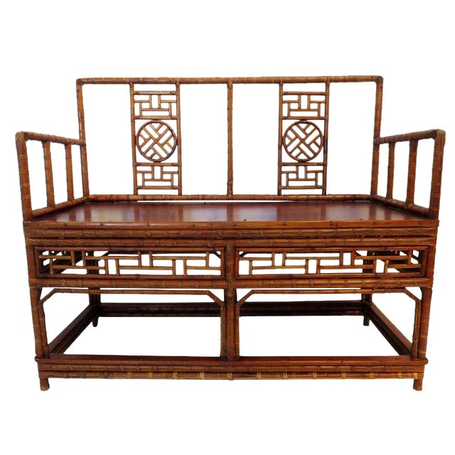 Image of Antique Chinese Bamboo Chinoiserie Settee