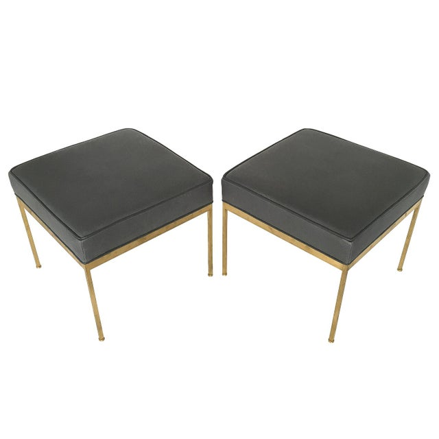 Lawson-Fenning Square Brass and Black Leather Ottomans - a Pair - Image 8 of 8