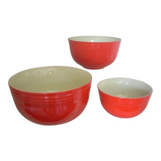 Hall Pottery Vintage Chinese Red Bowls - Set of 3