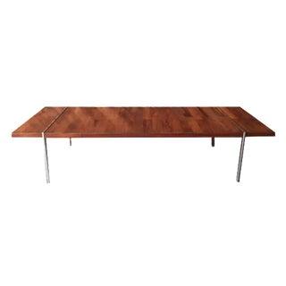 Vintage Walnut Rosewood Chrome Coffee Table