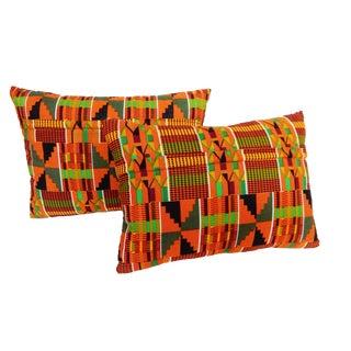Kente Cloth Colorful Pillows - A Pair
