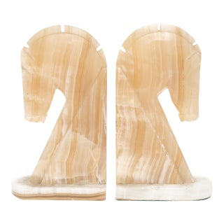 Oversize Large Vintage Marble Horse Head Bookends - A Pair