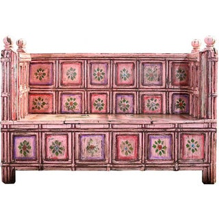 Hand-Painted Pink Wooden Storage Bench
