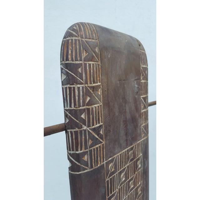 Vintage Metal & Carved Wood Panels Room Divider Screen - Image 7 of 9