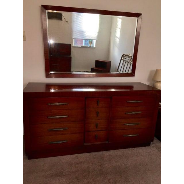 Mid Century Modern Long Dresser & Mirror | Chairish