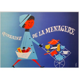 Vintage 1950s Blue French Poster