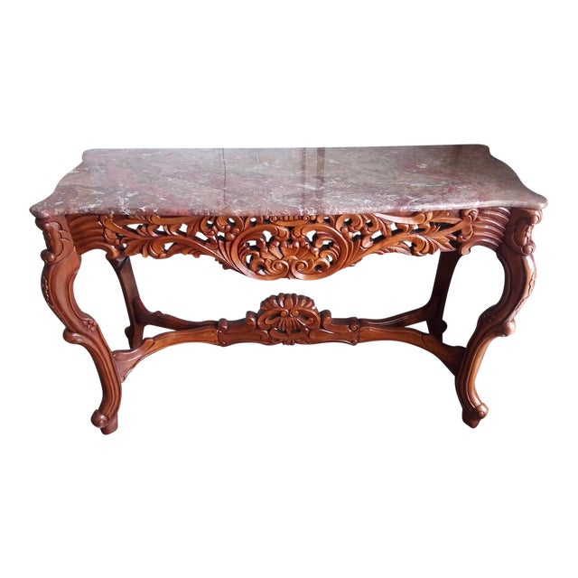 Marble Top Carved Wood Console Table - Image 1 of 5