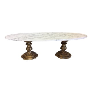 Fuggiti Studios Italian Carrara Marble & Gold Gilt Coffee Table