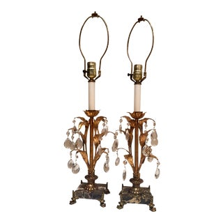 Italian Hollywood Regency Gilt Tole, Marble & Crystal Table Lamps