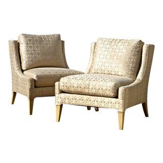 Quatrefoil Silk Fabric Slipper Chairs - A Pair