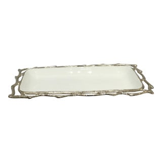 Silver Faux Bois and Glazed Enamel Tray
