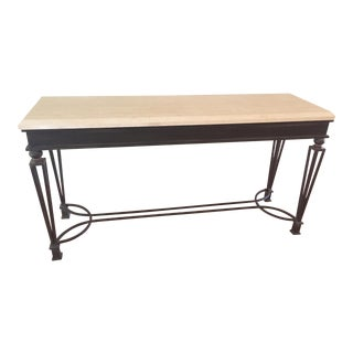 Kreiss Polished Travertine Topped Iron Console Table