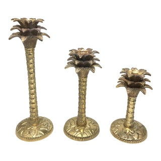 Vintage Brass Palm Tree Candle Holders - Set of 3