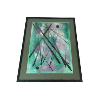 """L. Rhana - """"Untitled"""" Abstract Turquoise Painting"""