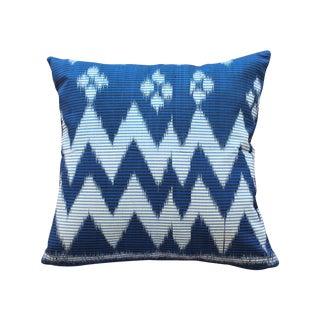 """Java Ripples"" Indigo Handwoven Ikat Pillow Cover"