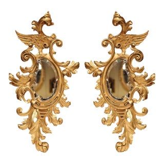 Mid-19th Century French Louis XV Carved Gilt Rococo Mirrors With Wings - A Pair