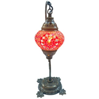 Red Mosaic Pendant Table Lamp
