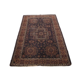 Navy and Purple Persian Rug - 3' x 5'