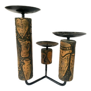 Carved Wood & Iron Candelabra