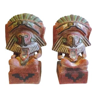Vintage Mexican Pottery Statues Cocijo Diety Sculpture 16 inch - A PAIR