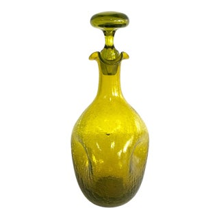 Mid-Century Blenko Green Pinched Crackle Glass Decanter