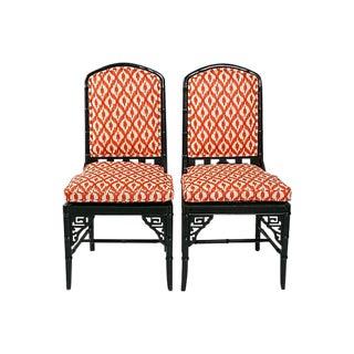 Black Chinoiserie Faux Bamboo Chairs - A Pair