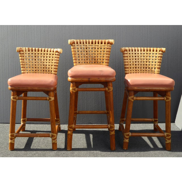 McGuire Bamboo Barstools with Laced Rawhide - Set of 3 - Image 2 of 11