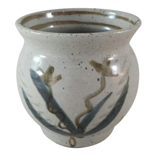 Hand Painted Floral Glazed Pottery Vase