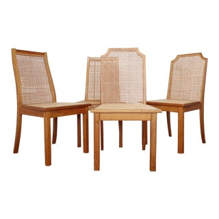 Wood and Cane Dining Chairs - Set of 4