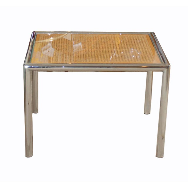 Cane And Chrome Side Table - Image 1 of 3