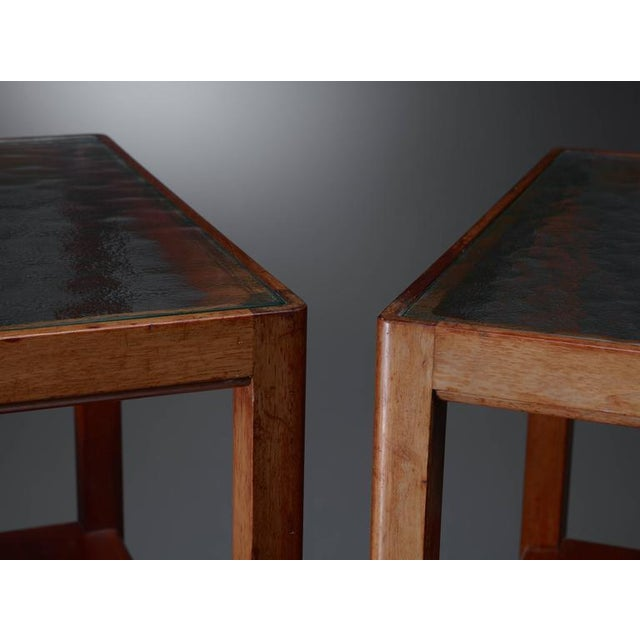 Thorald Madsen Pair of Mahogany Side Tables with Glass Top, Denmark, 1930s - Image 5 of 6