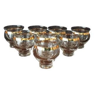 Mid-Century Gold Rim 2-Piece Glasses - Set of 8