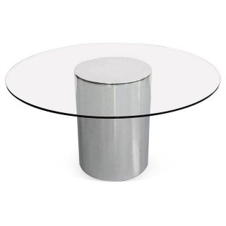 Paul Mayen Polished Aluminum Pedestal Dining Table