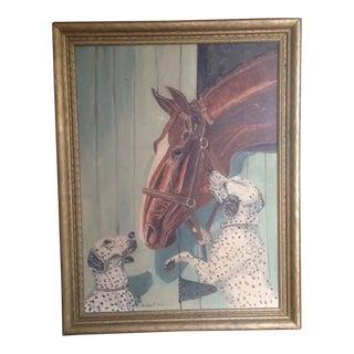 Vintage Horse & Dalmatian Dog Oil Painting